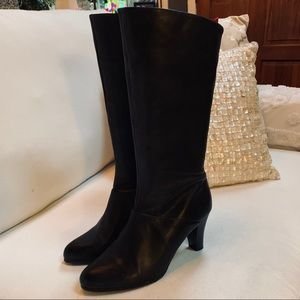 M. Patrick Leather Mid-Calf Leather Heeled Boots 9